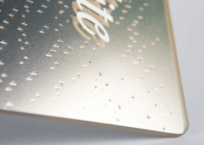 Impression relief touchstone sur plaque transparente avec blanc de soutien