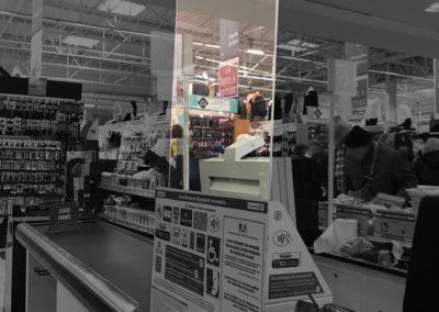 Plexiglass de protection pour caisses de supermarché