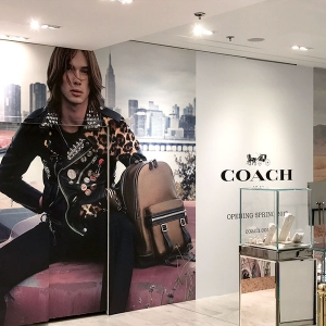 Habillage de la boutique COACH au Printemps Haussmann
